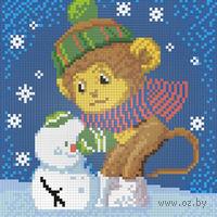 """Алмазная вышивка-мозаика """"Обезьянка и снеговик"""""""