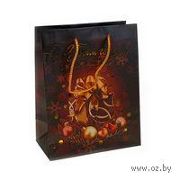 """Пакет бумажный подарочный """"С новым счастьем!"""" (23х18х10 см; арт. 10443229)"""