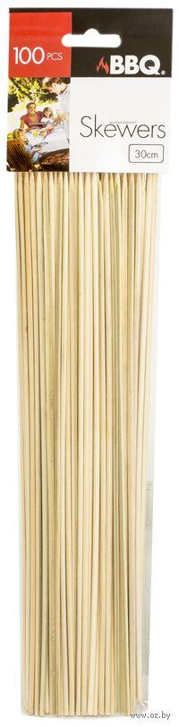 Набор шпажек-шампуров деревянных (100 шт, 30 см)