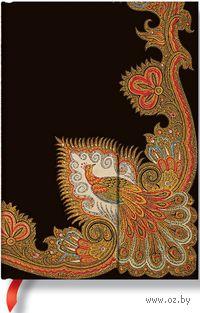 """Записная книжка Paperblanks """"Кружащийся павлин. Черное дерево"""" в линейку (формат: 130*180 мм, миди)"""