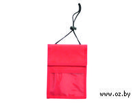 Нагрудное дорожное портмоне со шнурком (красное)