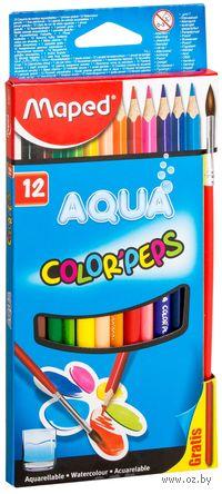 """Цветные карандаши """"Color Peps Aqua"""" (12 штук; + кисточка)"""