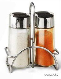 Набор баночек для специй, стеклянных, 2 шт. (100 мл) на металлической подставке (10*6,5 см)