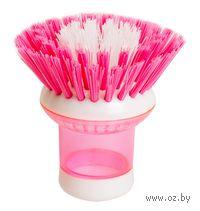 Щетка для мытья посуды пластмассовая с дозатором (8х8 см; арт. SK-0604)