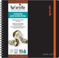 """Альбом для акварели """"Artefly"""" (210х210 мм; твердая черная обложка)"""