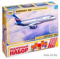 """Подарочный набор """"Региональный пассажирский авиалайнер Суперджет 100"""" (масштаб: 1/144)"""
