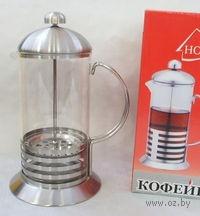 Кофейник с прессом, стекло/металл, 600 мл (арт. YM-001/600)