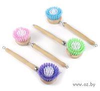 Щетка для мытья посуды пластмассовая с деревянной ручкой (20 см)