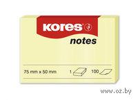 """Бумага для записей на клейкой основе """"Kores"""" (желтая; 75 x 50 мм; 100 листов)"""