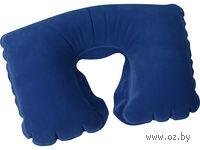 Подушка надувная под голову, в чехле (синяя)