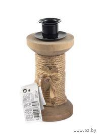 Подсвечник металл/дерево (13,5*6,5 см)