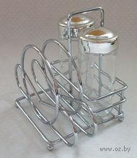 Набор для специй стеклянный с металлической подставкой для салфеток (2 предмета; 10х15х13 см)
