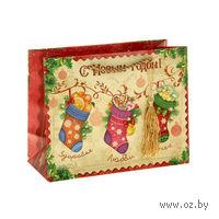 """Пакет бумажный подарочный """"С Новым годом!"""" (18*23*10 см)"""