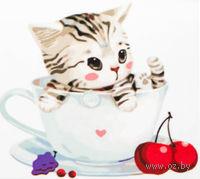 "Картина по номерам ""Котенок в чашке №3"" (250x250 мм; арт. MB059)"