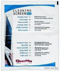 Чистящие салфетки для ноутбуков (1 влажная + 1 сухая)