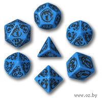 """Набор кубиков """"Драконьи"""" (7 шт, сине-черные)"""