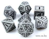 """Набор кубиков """"Рунический"""" (7 шт, серо-черные)"""