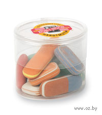 """Набор ластиков """"6510"""" в пластиковой упаковке (12 шт; цвет: ассорти)"""