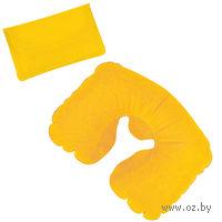 Подушка надувная дорожная в футляре (желтая)