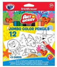 """Карандаши цветные """"Artberry. Jumbo"""" (12 цветов; с точилкой и раскраской)"""