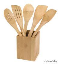 Набор кухонных принадлежностей бамбуковых в подставке (5 предметов, 30*6 см, арт. BB101148)
