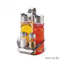 Набор для специй стеклянный, 4 предмета в металлической подставке: солонка (50 мл), перечница (50 мл), 2 бутылочки для уксуса/масла (200 мл)