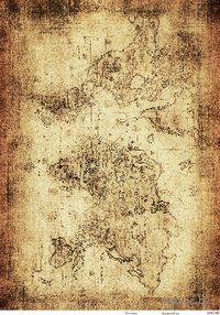 """Бумага для декупажа рисовая """"Старинная карта мира 4"""" (290х210 мм)"""
