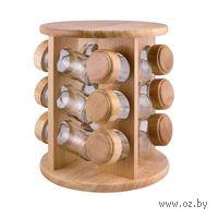 Набор банок стеклянных для сыпучих продуктов на деревянной подставке (12 шт)
