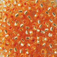 Бисер прозрачный с серебристым центром №08289 (оранжевый)