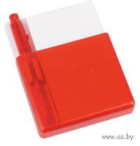 Подставка с бумажным блоком и ручкой с возможностью крепления на решетку обдува автомобиля (красная)