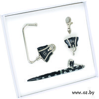 Набор. Шариковая ручка, крючок для ключей, крючок для сумки (черный)
