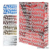 "Пакет бумажный подарочный ""Merry Christmas"" шрифт (33*9,6*41 см)"