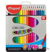 """Цветные карандаши """"Color Peps"""" в металлическом пенале (18 штук)"""