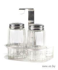Набор для специй стеклянный в металлической подставке (2 пр: солонка, перечница)
