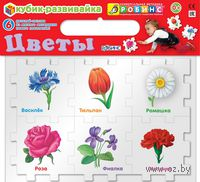 Цветы. Кубик-развивайка (6 элементов)