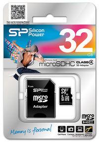 Карта памяти micro SDHC 32Gb Silicon Power Class 4 (с адаптером SD)