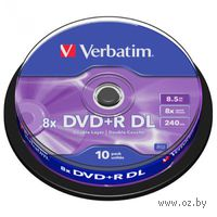 DVD+R Double Layer 8.5Gb 8x Verbatim CakeBox 10