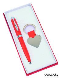 """Набор. Шариковая ручка, брелок """"Сердце"""" (красный)"""