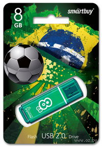 USB Flash Drive 8Gb SmartBuy Glossy series (Green)