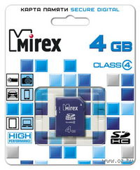 Карта памяти SDHC 4Gb Mirex Class 4