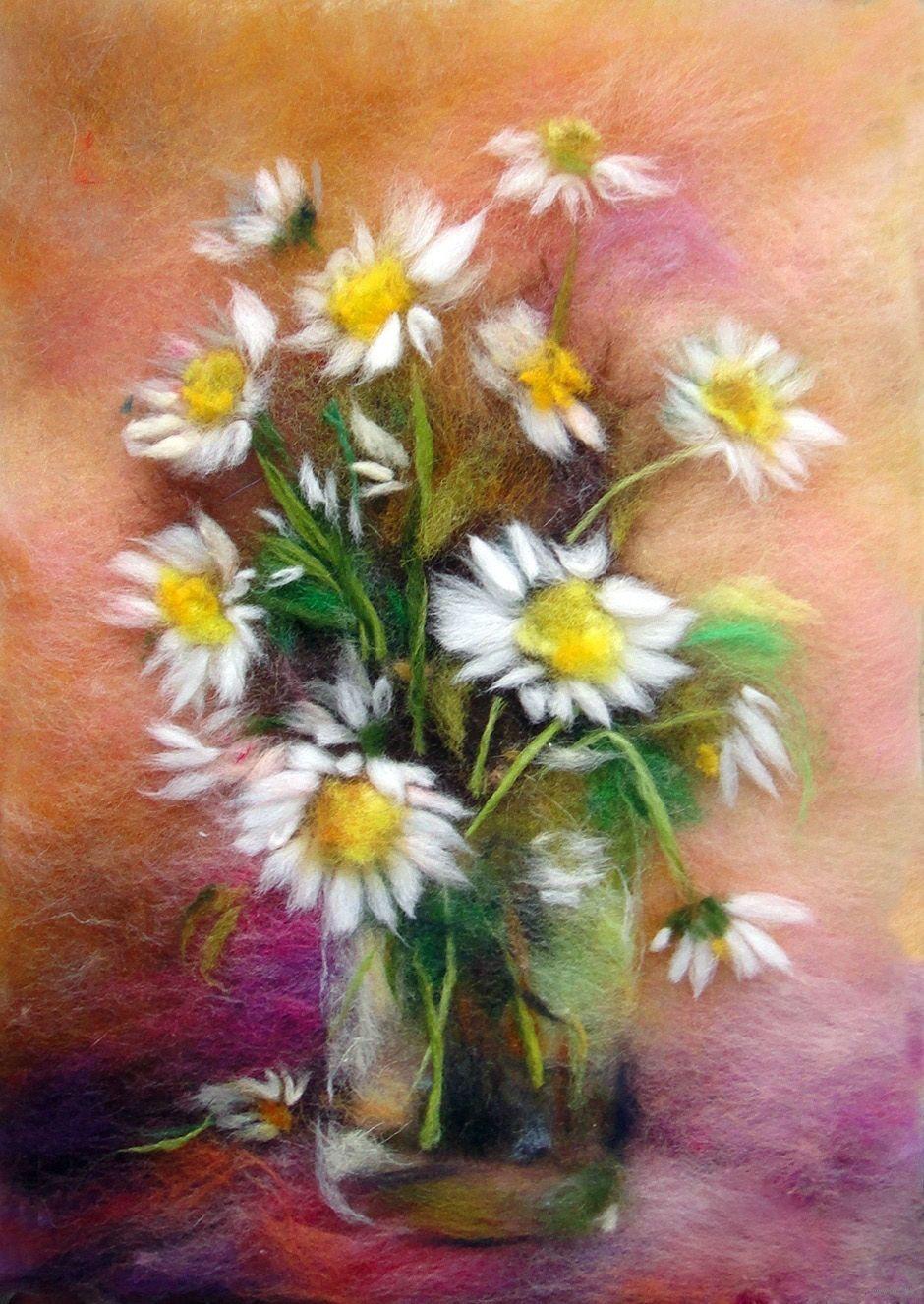 Картина из шерсти ромашки