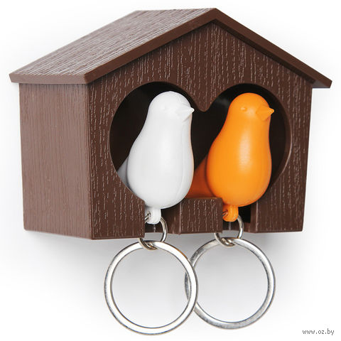 """Брелок-свисток и держатель двойной для ключей """"Sparrow"""" (коричневый/белый/оранжевый)"""