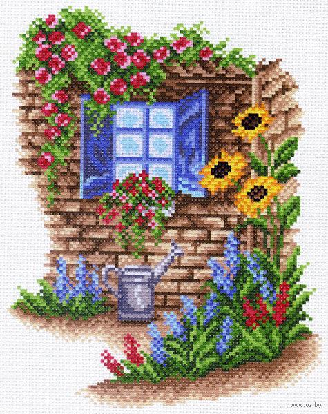 """Канва с нанесенным рисунком """"Окно в сад"""""""