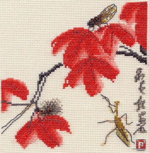 """Вышивка крестом """"Красные листья"""" (160х160 мм) — фото, картинка"""