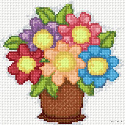 "Алмазная вышивка-мозаика ""Букетик цветов"" (200х200 мм) — фото, картинка"