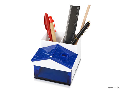 Подставка под ручки и канцелярские принадлежности в виде домика (синяя)