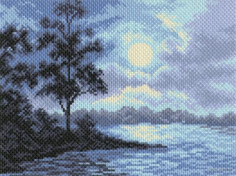 """Канва с нанесенным рисунком """"Ночной пейзаж"""""""