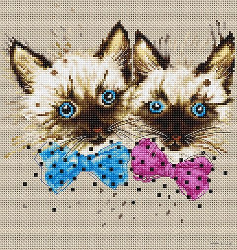 "Вышивка крестом ""Кошки"" (200х190 мм) — фото, картинка"