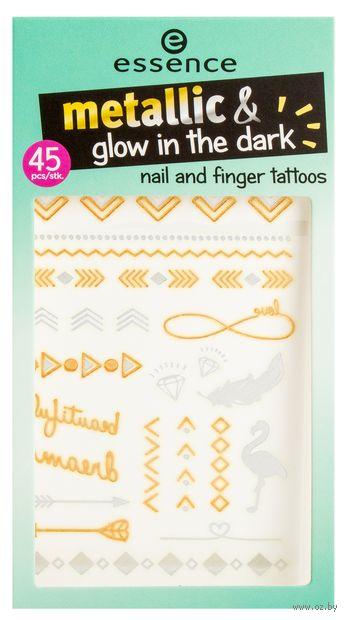 "Наклейки-тату для дизайна ногтей и рук ""Metallic and Glow in the Dark"" (тон: 01) — фото, картинка"