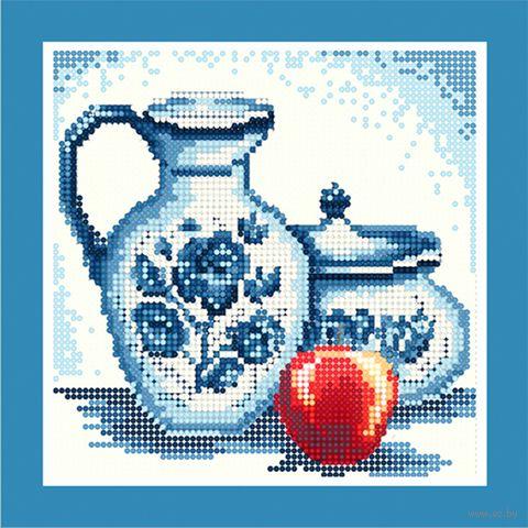 """Алмазная вышивка-мозаика """"Гжель. Красное яблоко"""" (250х250 мм) — фото, картинка"""